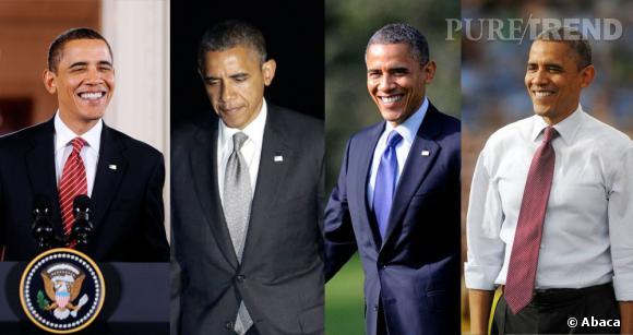 Des cravates variées : le Président sait aller au dela de la simple cravate bleue et aime changer de style. Il faut dire que c'est le seul accessoire mode avec lequel il peut vraiment s'amuser.