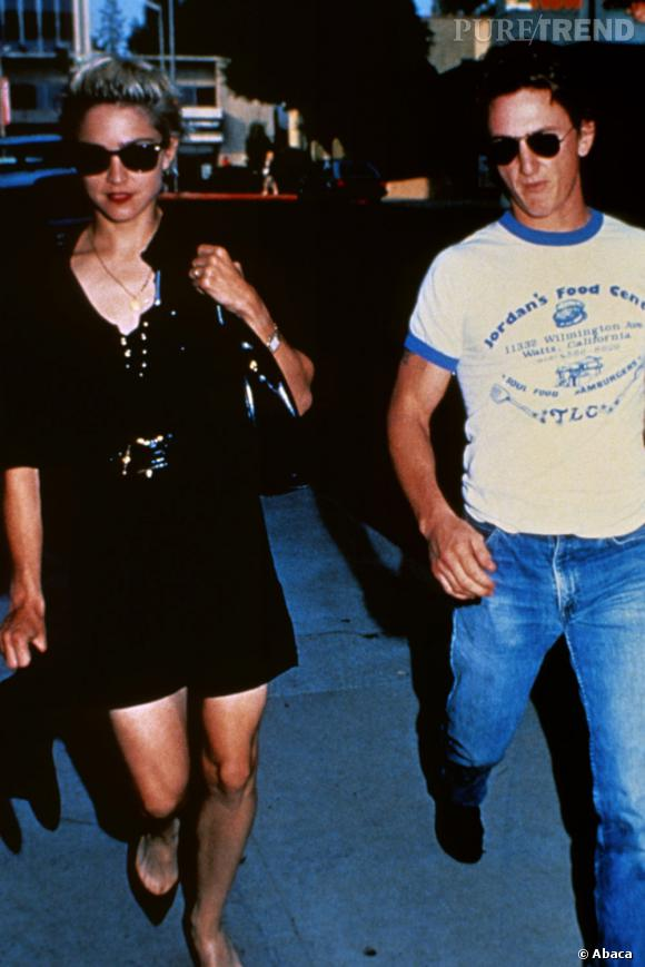 De 1985 à 1989, le couple le plus en vue est sans nul doute celui de Sean Penn et Madonna. Résultat : un mariage pris entre amour et violence, crises de jalousie et colères noires. Sean Penn ira même quelques jours en prison pour avoir attaqué un photographe.