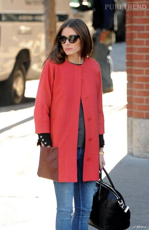 Olivia Palermo, le manteau corail.