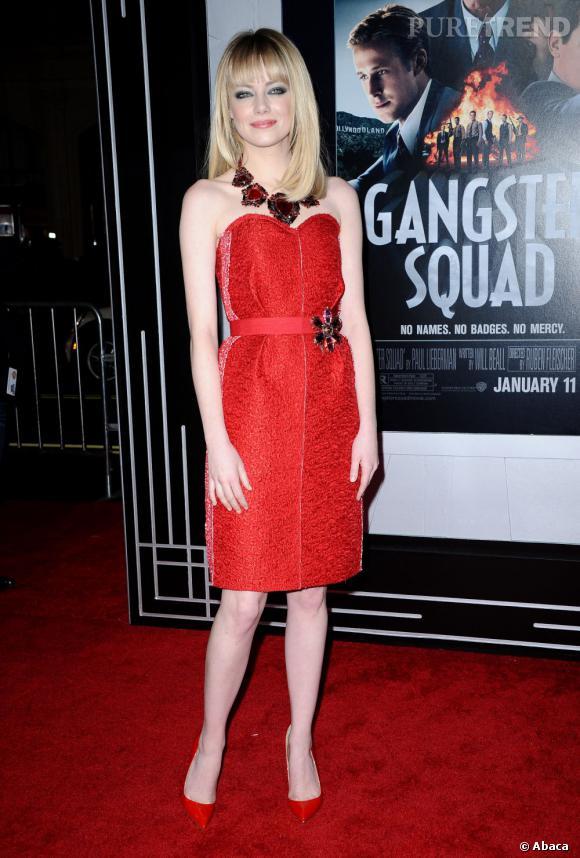 """Emma Stone mise sur un total look Lanvin pour l'avant-première de """"Gangster Squad"""" à Los Angeles."""