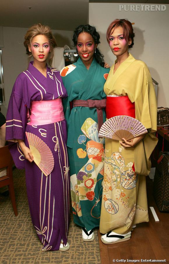 Les Destiny's Child en 2005. Les chanteuses se la jouent geisha. Une soirée à thème peut-être ?