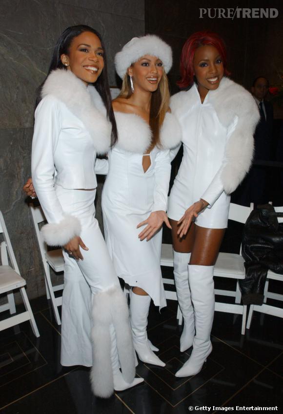 Les Destiny's Child en 2001. Place à l'allure hivernale avec de la fourrure immaculée ostentatoire.