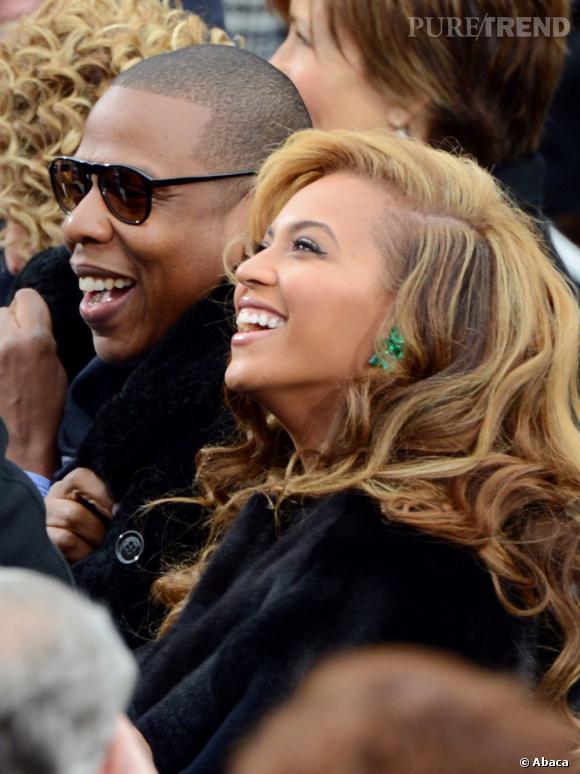 Beyoncé et Jay-Z étaient évidemment de la partie puisque Beyoncé devait chanter l'hymne national.