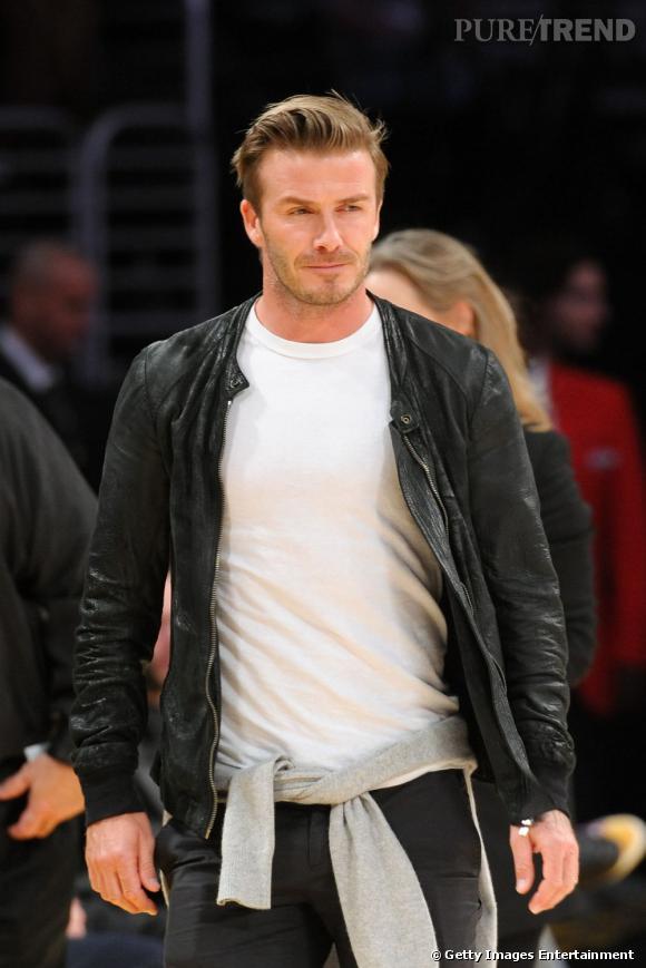 Le top cuir :  David Beckham, bien plus classe.