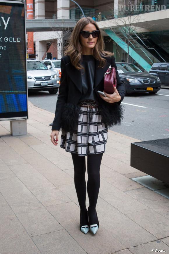 Olivia Palermo dans les rues de New York à l'occasion de la Mercedes Benz Fashion Week.