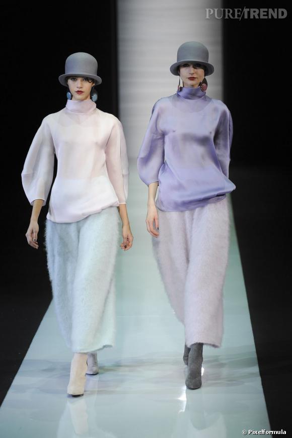 Fashion Week de Milan Automne-Hiver 2013/2014 Défilé Emporio Armani. Dupont et Dupont au féminin pour une allure rétro chic très fun.