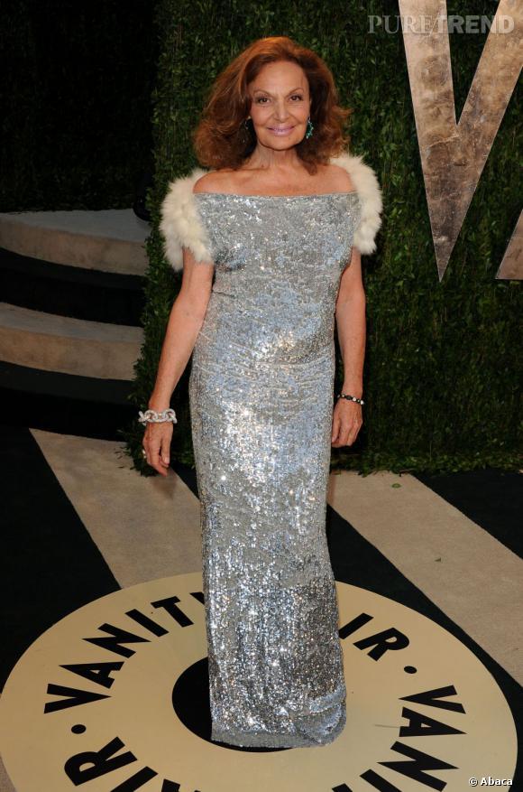 Diane von Furstenberg à la soirée Vanity Fair post-Oscars 2013.