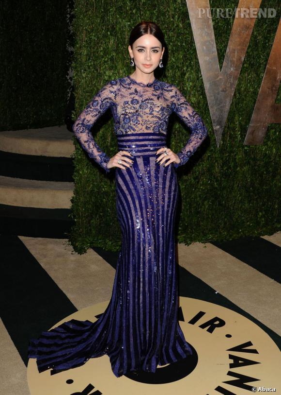 Lily Collins, magnifique dans une robe Zuhair Murad, à la soirée Vanity Fair post-Oscars 2013.