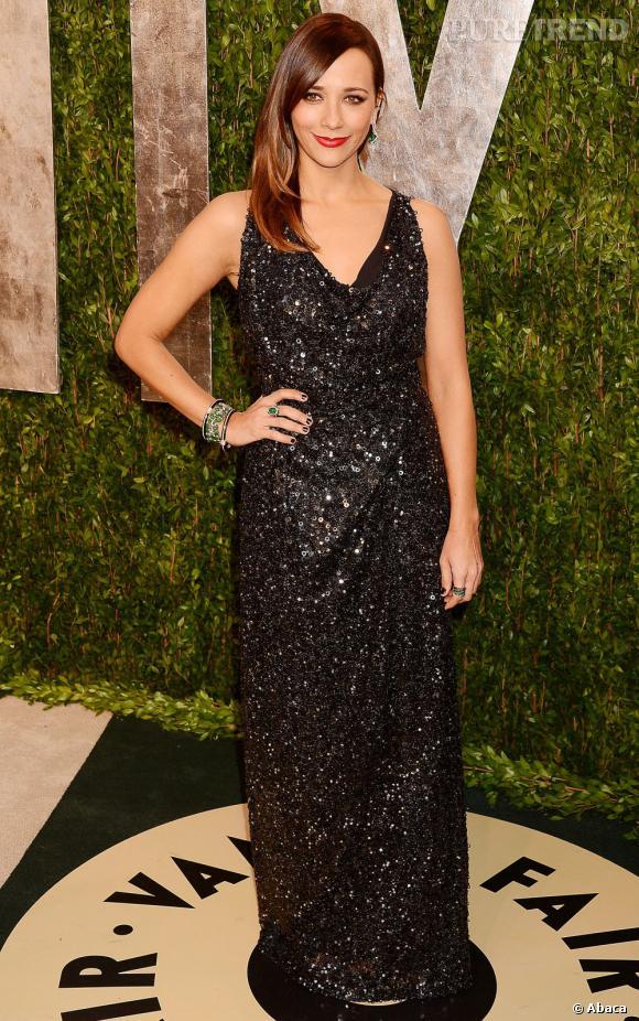 Rashida Jones en Vivienne Westwood à la soirée Vanity Fair post-Oscars 2013.