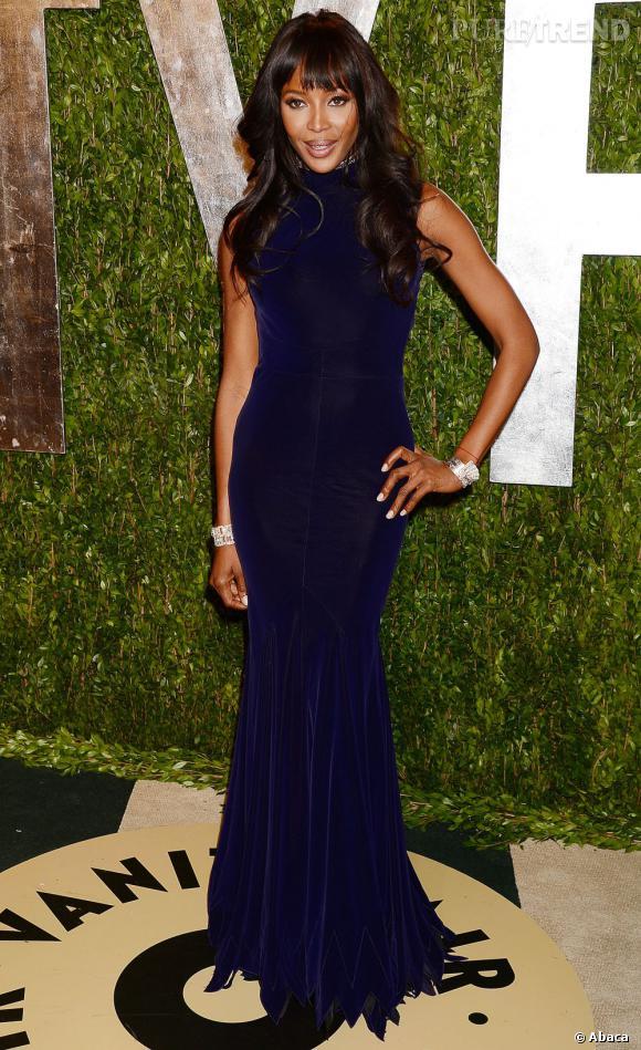 Naomi Campbell à la soirée Vanity Fair post-Oscars 2013.