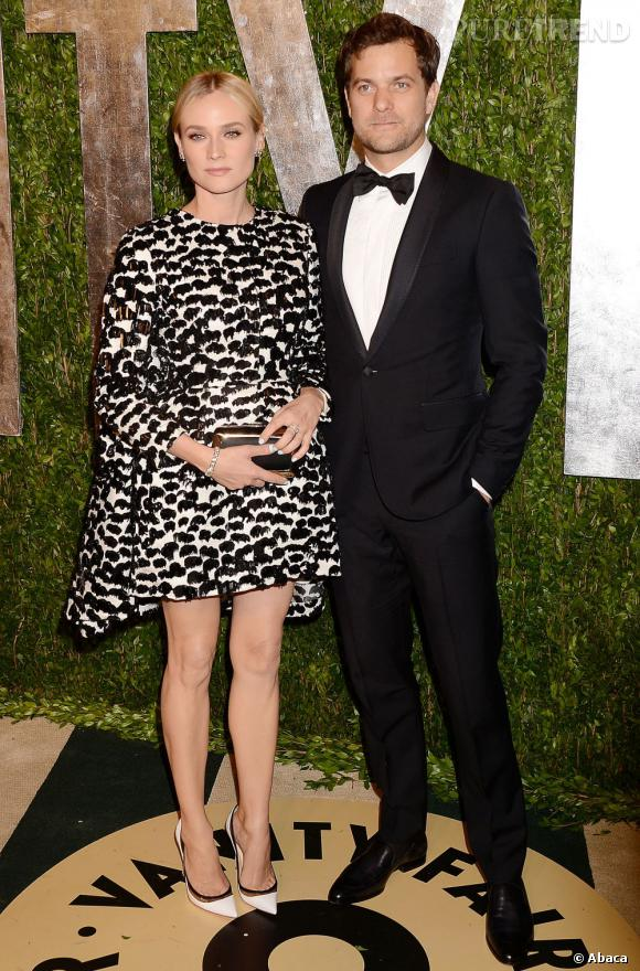 Diane Kruger en Giambattista Valli et Joshua Jackson à la soirée Vanity Fair post-Oscars 2013.