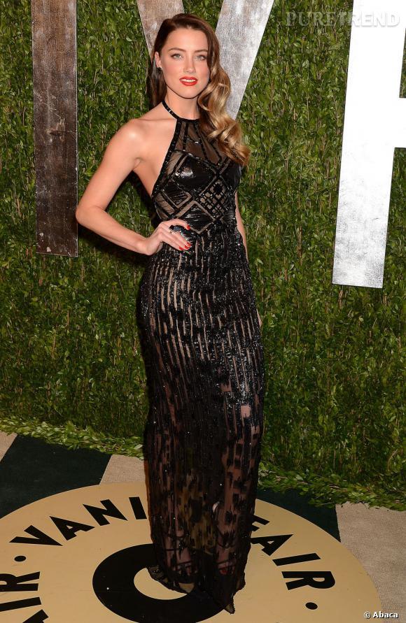 Amber Heard en Versace Atelier à la soirée Vanity Fair post-Oscars 2013.