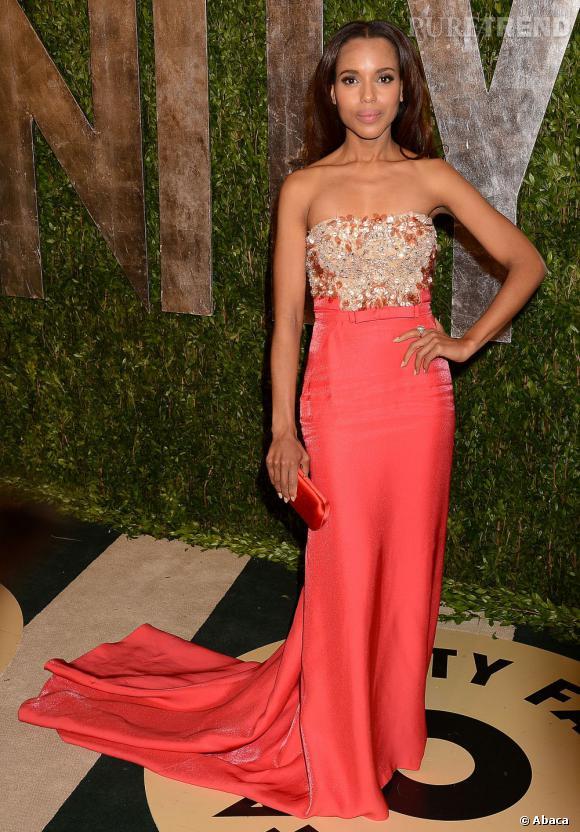 Kerry Washington en robe bustier Miu Miu à la soirée Vanity Fair post-Oscars 2013.