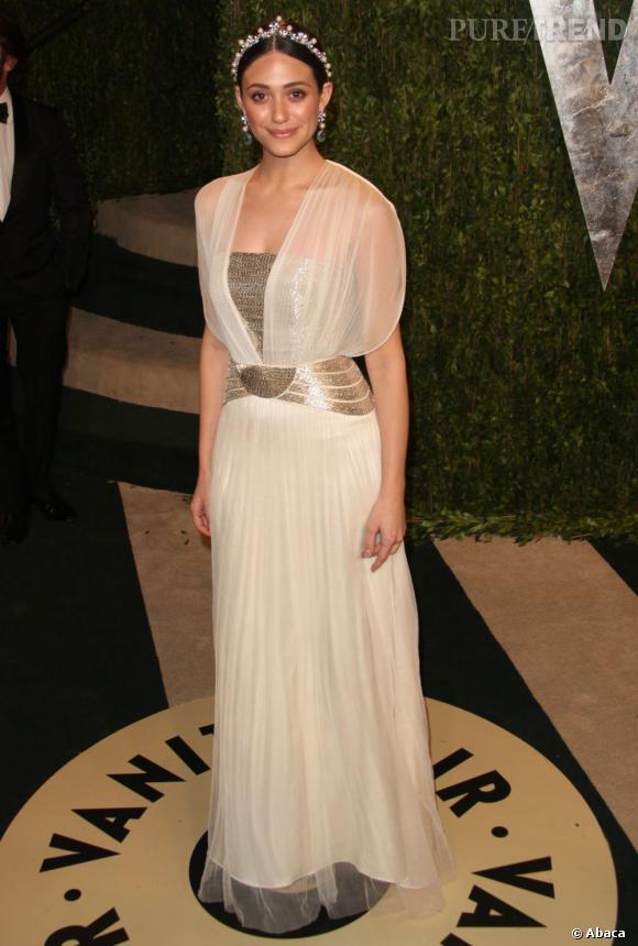 Emmy Rossum à la soirée Vanity Fair post-Oscars 2013.