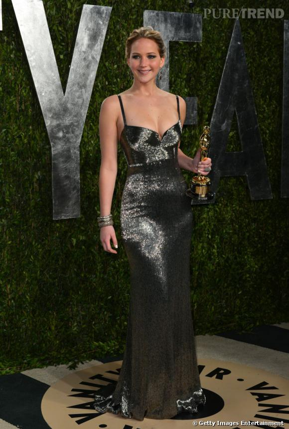 Jennifer Lawrence à la soirée Vanity Fair post-Oscars 2013.