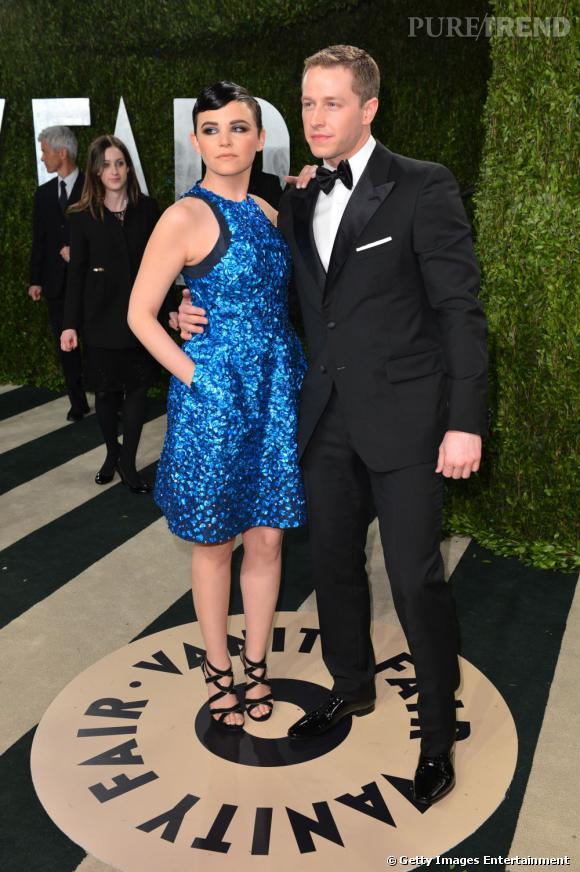 Ginnifer Goodwin en Monique Lhuillier et Josh Dallas à la soirée Vanity Fair post-Oscars 2013.
