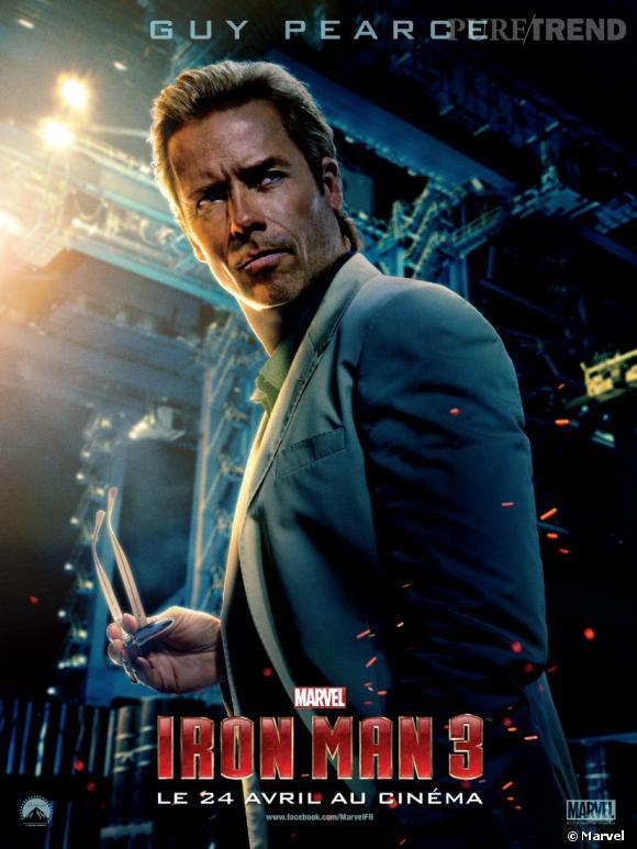 """Guy Pearce joue Aldrich Killian, le directeur du labo de recherche qui a créé le virus """"Extremis""""."""
