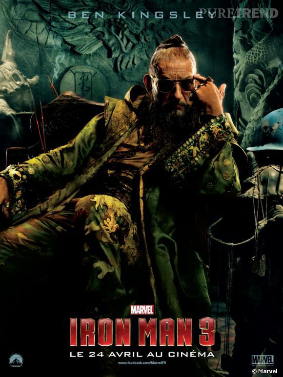 Ben Kingsley joue le grand méchant de l'histoire, le Mandarin.