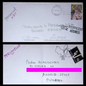 """Lettres adressées à Barack Obama, Pedro Almodovar et Philippe Starck Exposition de Marie Beltrami """" Ma vie de timbrée """", à partir du 6 mars.Au Cabinet d'écriture Louis Vuitton, place Saint Germain des Prés 75006 Paris"""