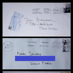"""Lettres adressées à Jim Morrison, Marc Jacobs et Marie Antoinette Exposition de Marie Beltrami """" Ma vie de timbrée """", à partir du 6 mars.Au Cabinet d'écriture Louis Vuitton, place Saint Germain des Prés 75006 Paris"""