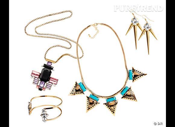 H&M :    Bracelet 6,95€, collier chaîne 14,95€, collier turquoise 9,95€, boucles d'oreilles 5,95€.