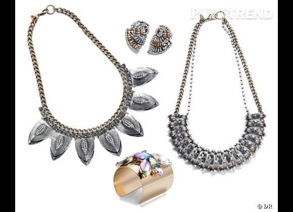 Mango :    Collier feuilles 44,99€, manchette 34,99€, collier 44,99€, boucles d'oreilles 29,99€.