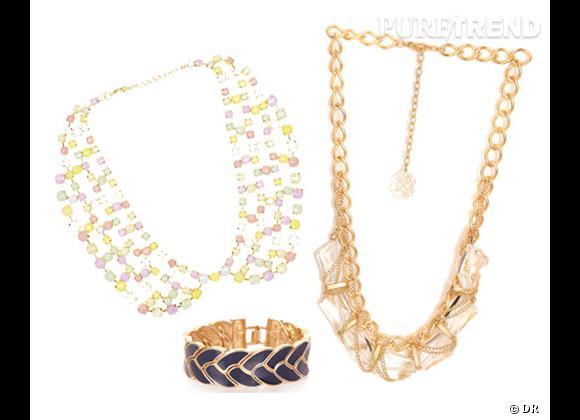 Morgan :    Collier col 35€, bracelet tressé 25€, collier chaîne 35€.