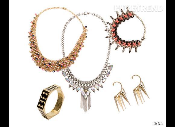 Bershka :    Bracelet rigide 12,99€, collier perles 12,99€, collier cristaux 14,99€, bracelet piques 14,99€, boucles d'oreilles 7,99€.
