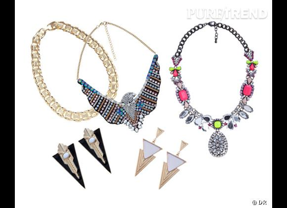 New Look :    Collier chaîne 8,99€, collier aigle 17,99€, collier cabochon 24,99€, boucles d'oreilles noires 7,99€, boucles d'oreilles pastel 6,99€.