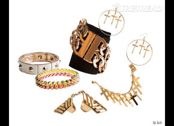 Forever 21 :    Bracelet metal blanc 12,75€, bracelet piques fluo 6,75€, manchette metal doré et noir 12,75€, bague articulée 9,90€, boucle d'oreille croix 6,75€, boucles d'oreilles créoles 11,75€.