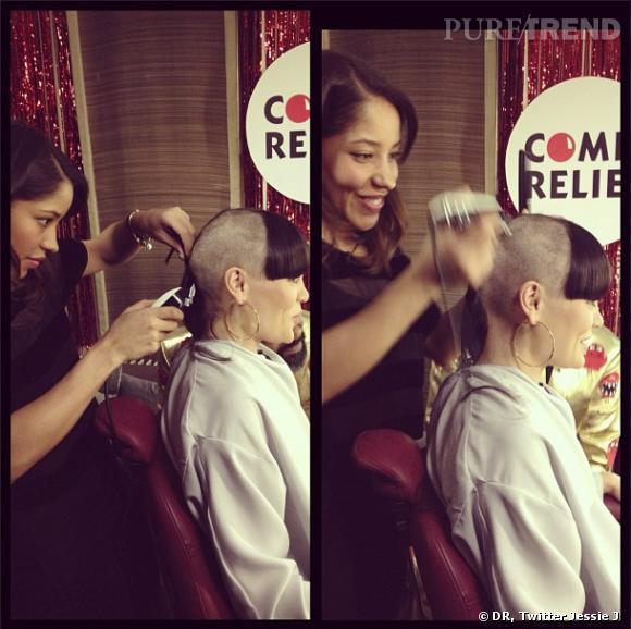Jessie J pendant que sa coiffeuse lui rase le crâne.