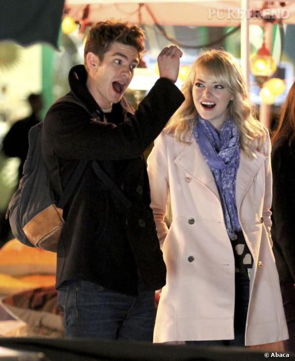 """Emma Stone et Andrew Garfield, en plein tournage de """"The Amazing Spider-Man 2""""."""