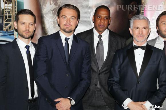 """Leonardo DiCaprio, Jay-Z, Tobey Maguire et Baz Luhrmann à la première mondiale de """"Gatsby Le Magnifique""""."""