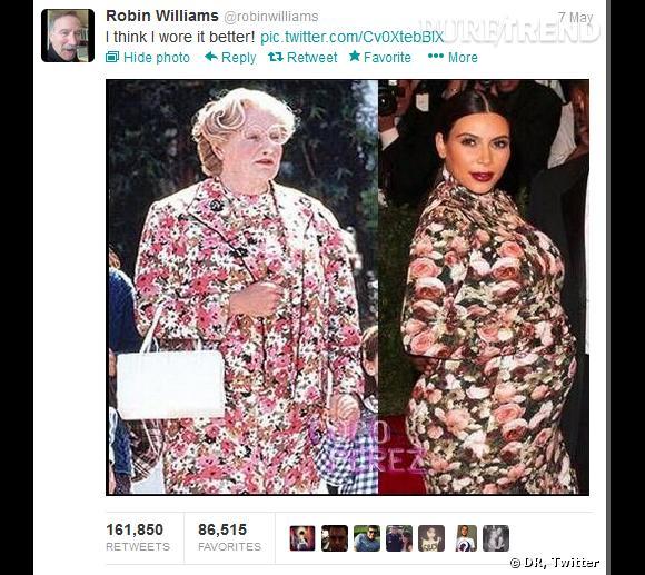 Kim Kardashian et sa robe du Met victime de moquerie : ici Robin Williams la compare à Madame Doubtfire.