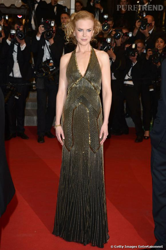 Nicole Kidman en robe dorée Ralph Lauren au Festival de Cannes 2012.