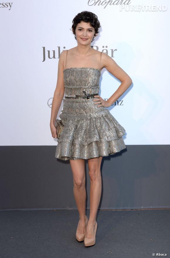 Audrey Tautou a fait une apparition pailletée pour le gala de l'amfAR au Festival de Cannes, le 23 mai 2013.