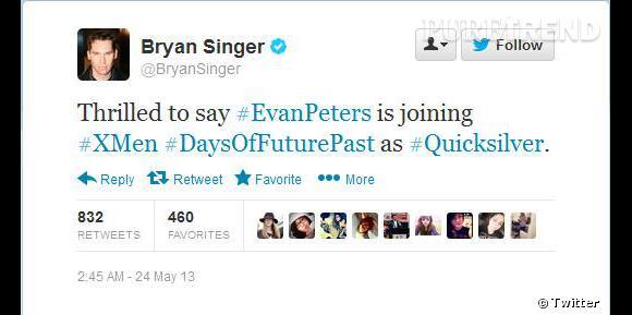 Le réalisateur Bryan Singer a annoncé la nouvelle sur Twitter.