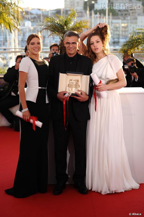 """Léa Seydoux, Abdellatif Kechiche et Adele Exarchopoulos : la Palme d'or pour """"La vie d'Adèle""""."""