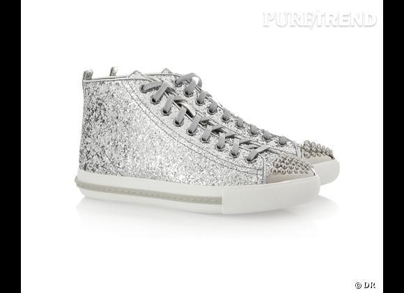 Fashion obsession : des baskets hype !    Baskets glitter Miu Miu, 380 € sur  Net-a-porter.com