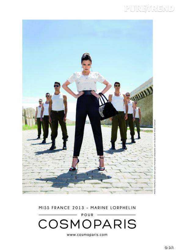 Marine Lorphelin, Miss France 2013, prend la pose pour la campagne de Cosmoparis de l'Automne-Hiver 2013/2014.
