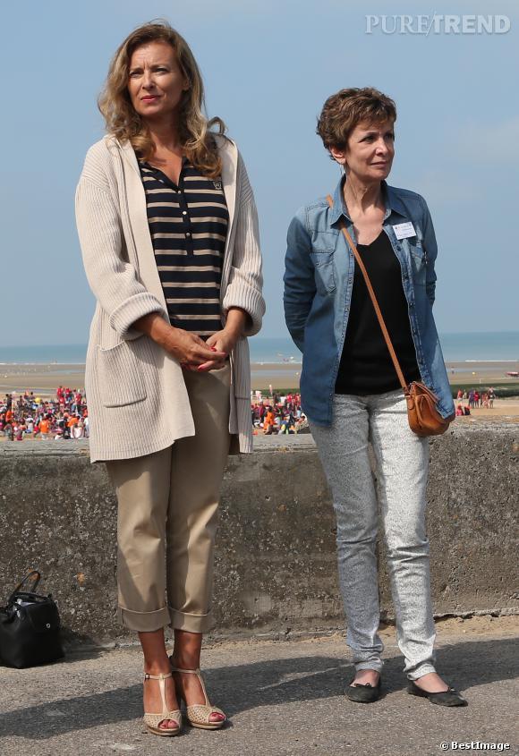 Valérie Trierweiler au côté de la présentatrice météo Catherine Laborde à Cabourg.