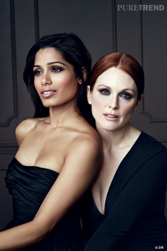 Freida Pinto et Julianne Moore, deux beautés opposées pour L'Oréal Paris, Color Riche Collection Privée.