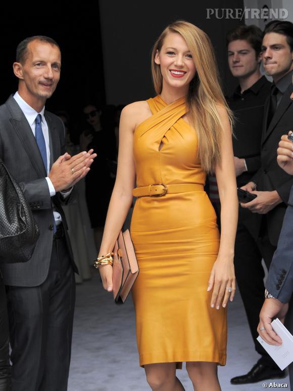 Blake Lively, très en beauté à la Fashion Week de Milan.