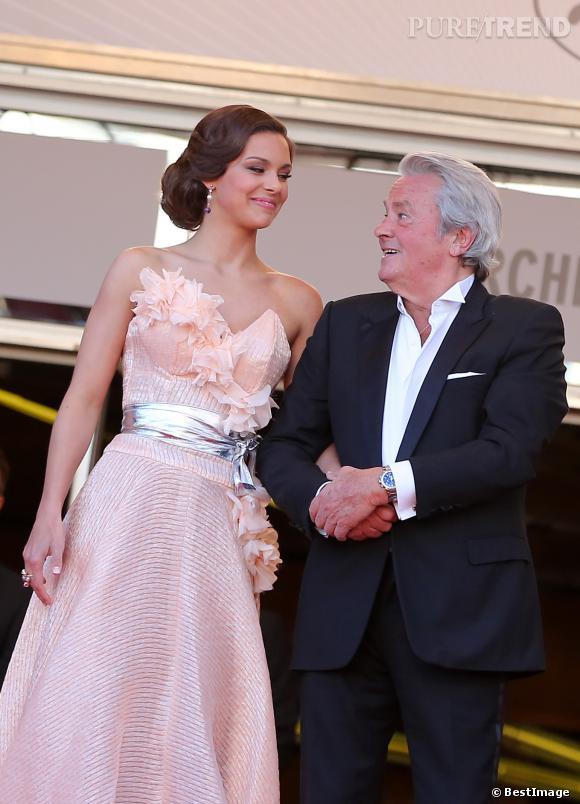 Marine Lorphelin à Cannes avec Alain Delon.