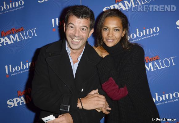"""Karine Le Marchand et Stéphane Plaza, toujours aussi complices lors de l'after party de """"Spamalot""""."""