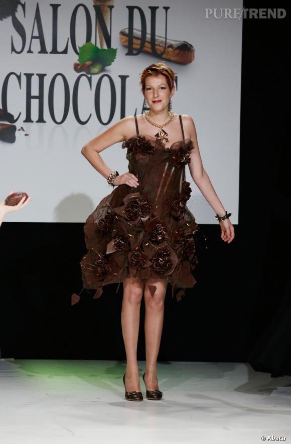 La journaliste Natacha Polony au défilé du Salon du chocolat 2013.