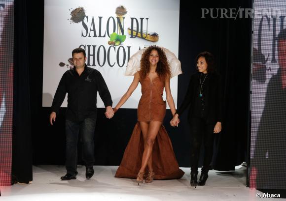 Le mannquin Noémie Lenoir au défilé du Salon du chocolat 2013.