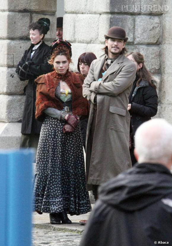 "Billie Pipper et Josh Hartnett en plein tournage de ""Penny Dreadfull"" à Dublin."