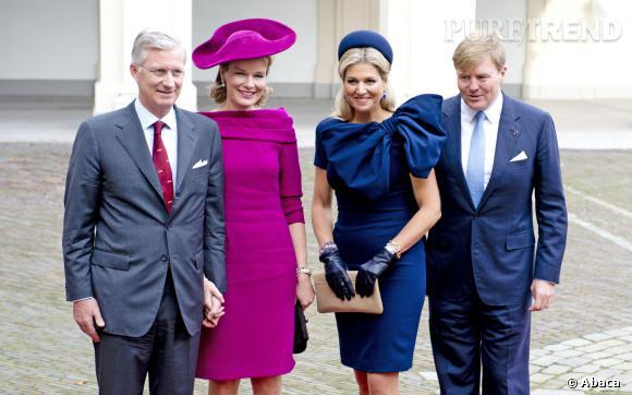 Les reines Mathilde de Belgique etMaxima des Pays-Bas entre les rois Philippe et Willem Alexander à La Hague.