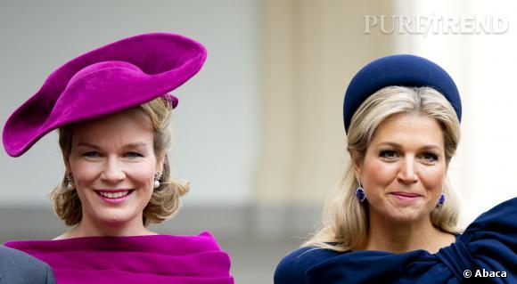 Mathilde de Belgique et Maxima des Pays-Bas, concours d'élégance à La Hague.